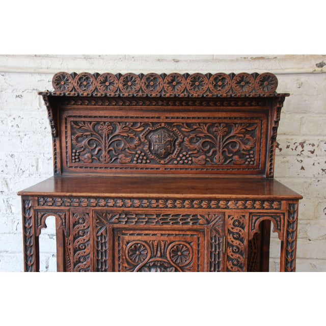 19th Century English Ornate Carved Oak Sideboard Bar Cabinet For Sale In South Bend - Image 6 of 13