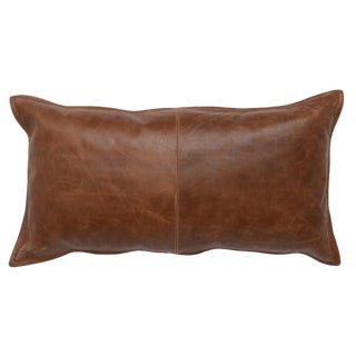 Contemporary Leather Kona Brown Pillow For Sale