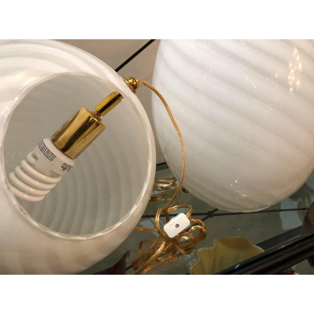 "Beautiful Pair of White Swirl Murano Glass ""Egg"" Table Lanterns. Vetri Italy, C. 1980s For Sale - Image 9 of 13"