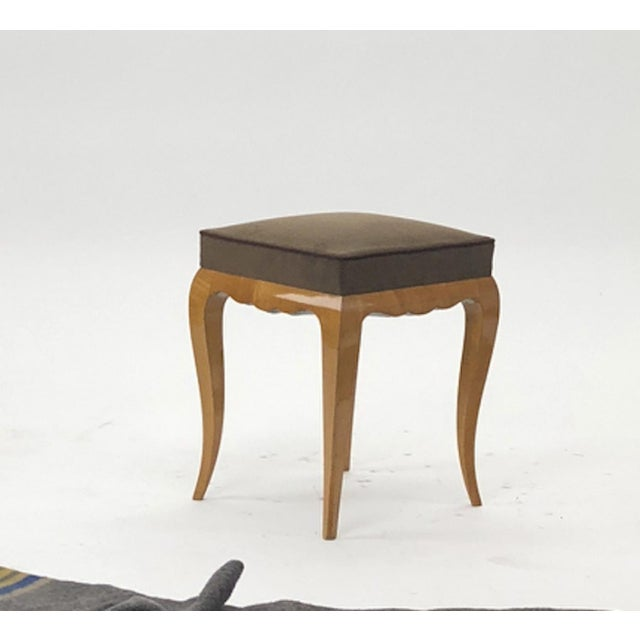 Art Deco Rene Prou Refined Solid Sycamore Pair of Stools For Sale - Image 3 of 6