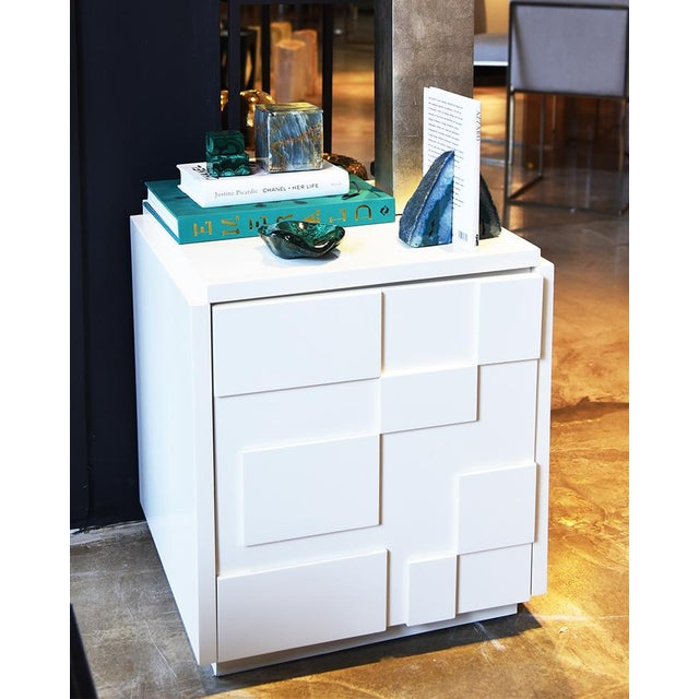 White lacquer square cabinet. Due to the handcrafted nature of this item, variation in shape, size and colour should be...
