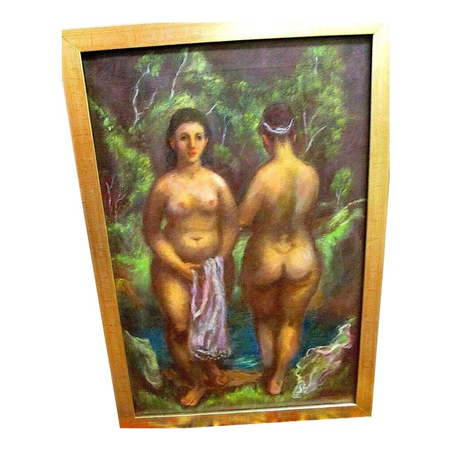 "Original Vintage Signed Mid 20th C. Oil/Canvas-""Nude Bathers""--Indiana Artist Harry Davis For Sale"