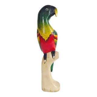 Vintage Carved Wood Parrot