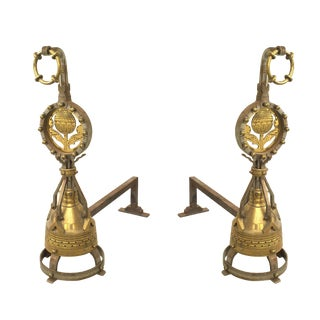 Pair of English Arts & Crafts Brass Andirons For Sale