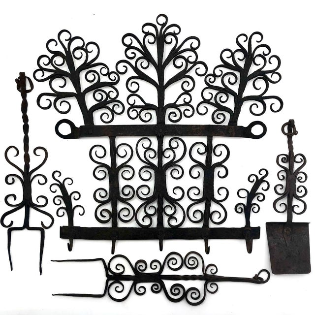 Antique Hand Forged Wrought Iron Utensils Rack, Forks and Spatula For Sale - Image 13 of 13