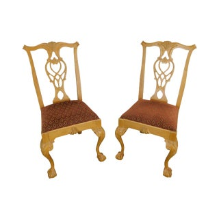 Lexington Solid Pine Chippendale Style Ball & Claw Carved Pair Side Chairs For Sale