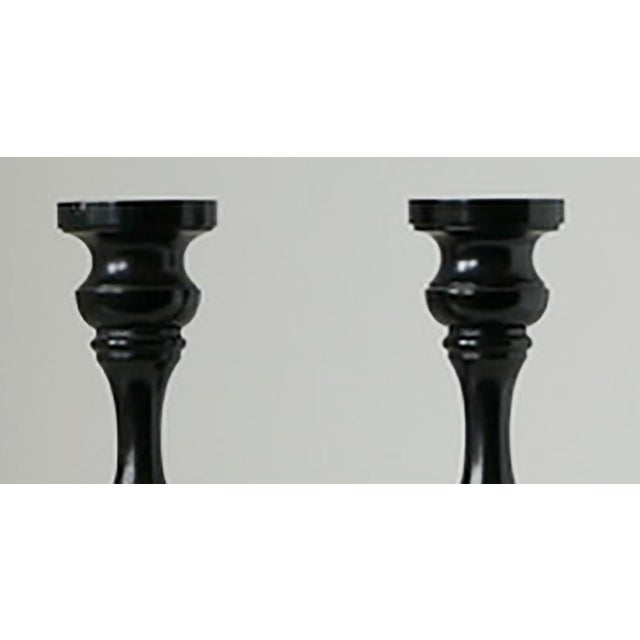 1940s Pair of Ebony Candlesticks For Sale - Image 4 of 5