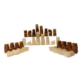 Vintage Carved Onyx Chess Set - 32 Pieces For Sale