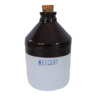 Antique Mercury Brown and White Stoneware Crock Small Bottle Jug For Sale