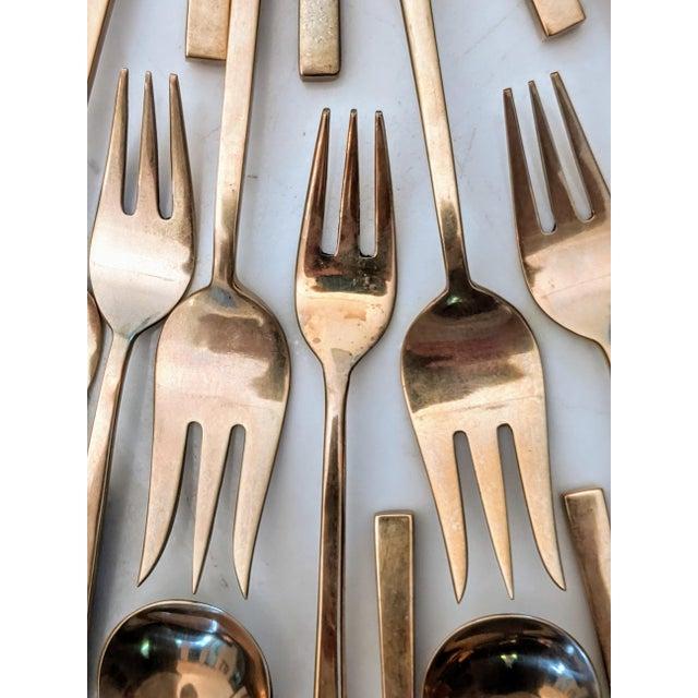 Minimalist Brass Flatware by Sigvard Bernadotte (Service for 12) For Sale In Dallas - Image 6 of 12