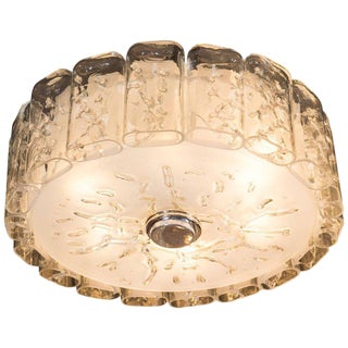 Mid-Century Modern Flush Mount Chandelier in Frosted and Textured Glass by Doria For Sale