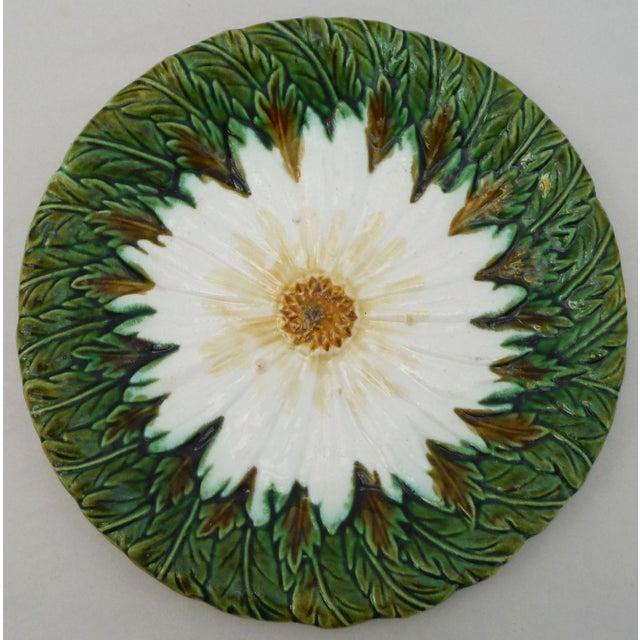 French majolica daisy plate unsigned circa 1900.