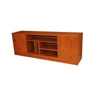 Mid Century Modern Danish Teak Media Credenza Cabinet For Sale