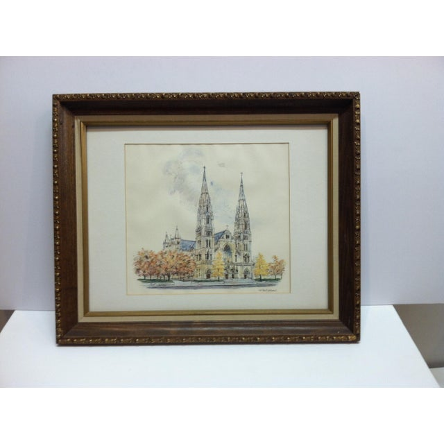 """1970s 1970s Vintage""""St. Paul's Cathedral"""" Framed & Matted Pittsburgh, Pa Print For Sale - Image 5 of 5"""