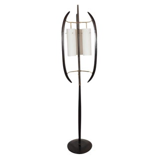 Italian Midcentury Sculptural Ebonized Walnut, Brass & Frosted Glass Floor Lamp For Sale