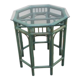 1950s Vintage Pastel Green Tinted Bamboo Side Table For Sale