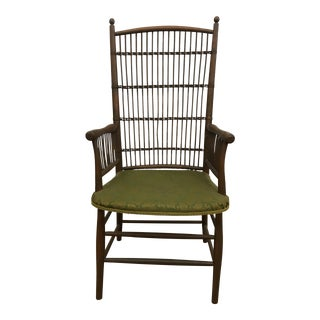Rattan Brocade Fabric Chair For Sale