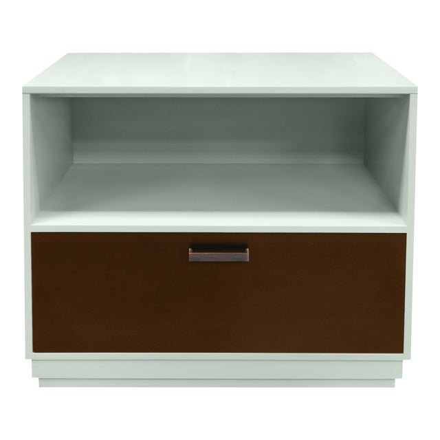 Minimalistic Maple Filing Cabinet From Garden Street in Ocean With a Stained Drawer For Sale