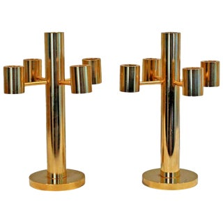 1970's Vintage Gilt Brass Candelabras- A Pair For Sale