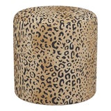 Image of Drum Ottoman in Leopard For Sale