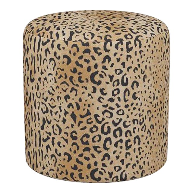Drum Ottoman in Leopard For Sale