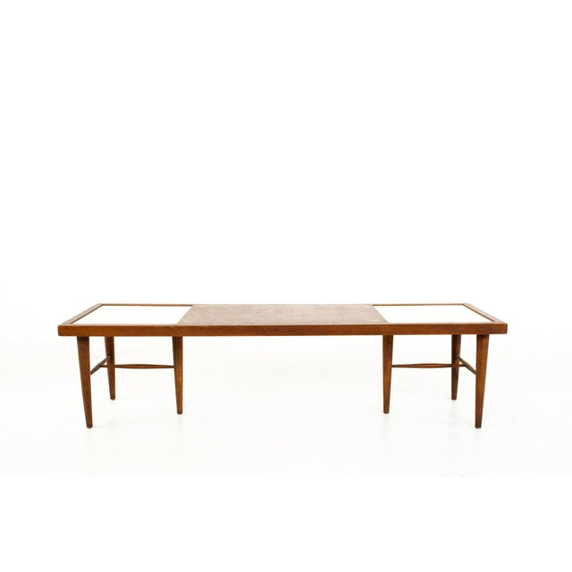 Merton Gershun for American of Martinsville Mid Century X Inlaid Walnut and White Laminate Coffee Table Coffee table...