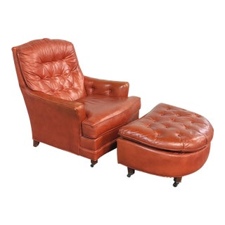 1970s Vintage Burnt Orange Tufted Leather Club Chair With Ottoman For Sale