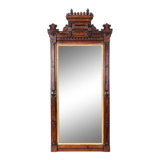 Victorian Carved Mahogany Wood and Gold Leaf Framed Hanging Mirror For Sale