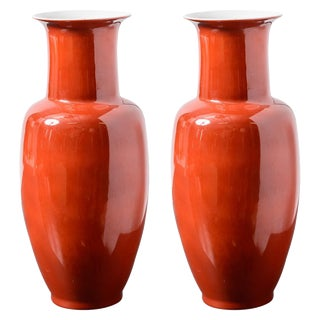 1960s Chinese Red Porcelain Vases - a Pair