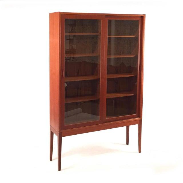 Vintage Teak Glass Tall Cabinet Chairish