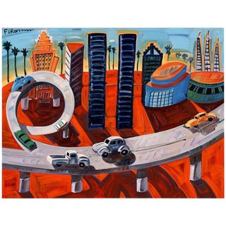 "Frank Romero ""Cheech's Downtown"" Giclee Print Limited 30/190 Signed For Sale"