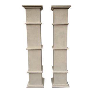 Cream Stone Colored Greek Architectural Columns** - a Pair For Sale
