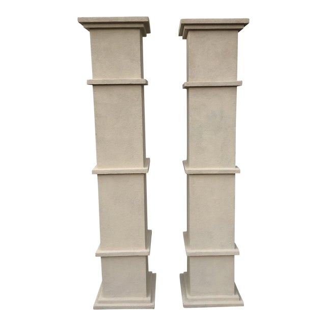 Cream Stone Colored Greek Architectural Columns - A Pair For Sale