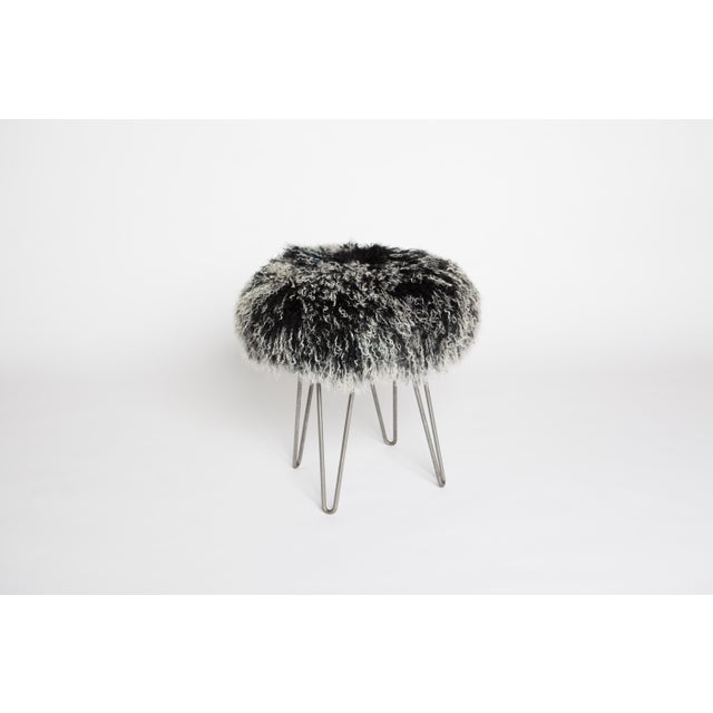 Modern Tipped Black Curly Hairpin Stool For Sale - Image 3 of 3