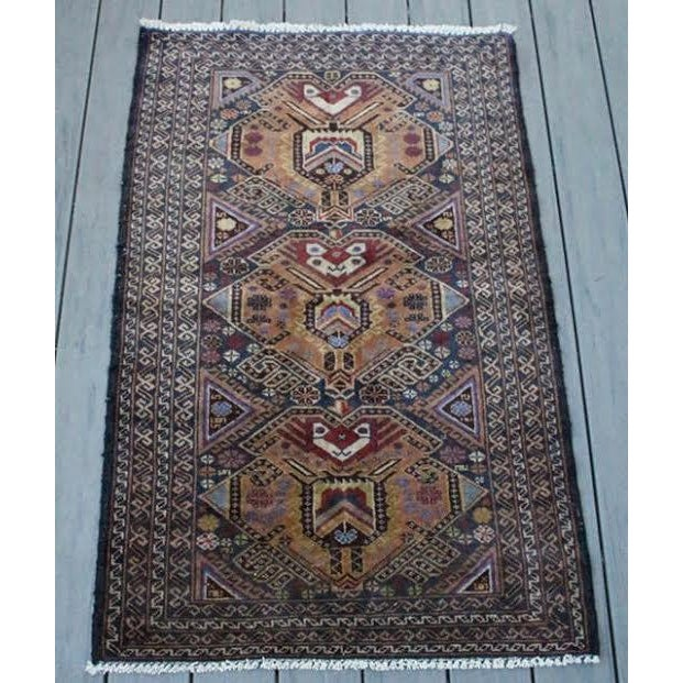 """Vintage Persian Balouch Rug - 2'9"""" X 4'5"""" - Image 2 of 9"""