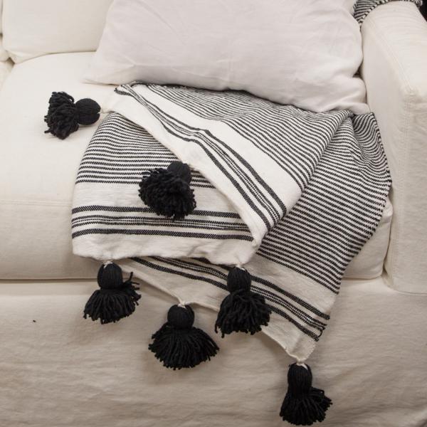 Moroccan Tassel Pom Pom Cotton Throw For Sale - Image 3 of 5