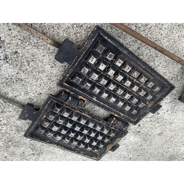 Antique Waffle Irons & Wood Burning Stove Lid - Set of 4 For Sale - Image 9 of 12