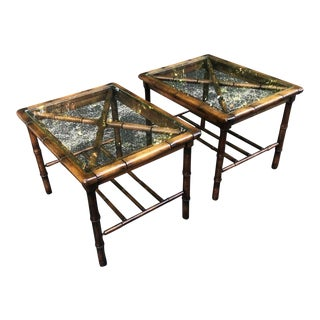 20th Century Chinoiserie Bamboo Style End Tables - a Pair For Sale