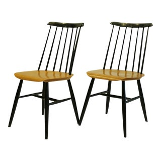 Imari Tapiovaara Teak and Black Lacquered Dining Chairs, Circa 1940-1949 - a Pair