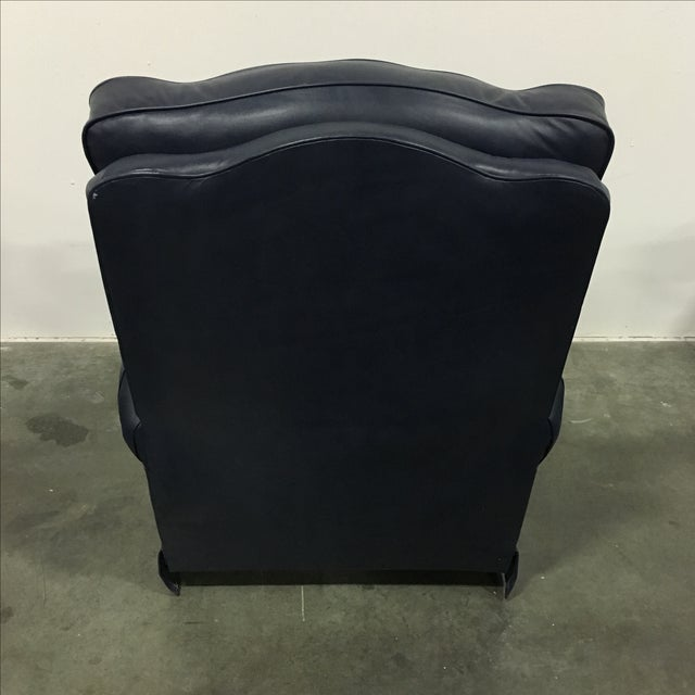 Navy Blue Swivel Recliner by Leathercraft - Image 5 of 10