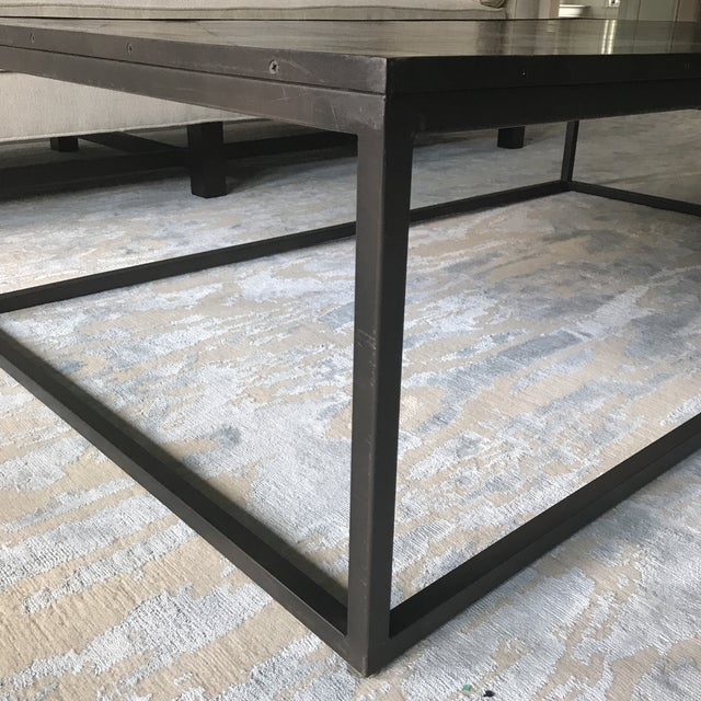 Restoration Hardware Metal Parquet Coffee Table - Image 4 of 5