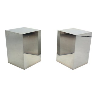 Minimalist Cube Stainless Steel Side Tables - a Pair For Sale