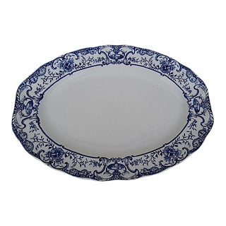 English 1891 Royal Doulten Blue Athol Platter For Sale