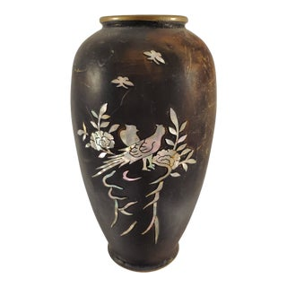 Antique Japanese Mixed Metal Mother of Pearl Inlay Design Vase For Sale