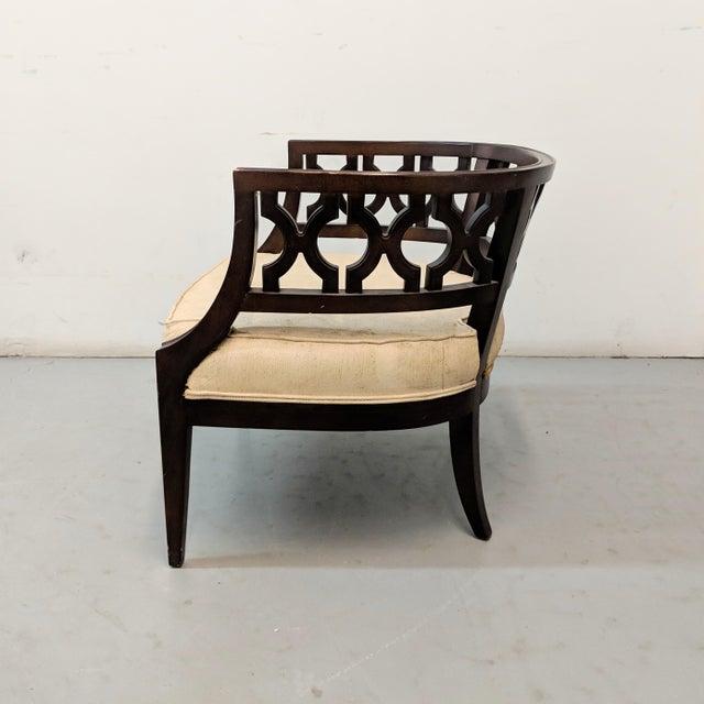 Boho Chic 1970s Vintage Hollywood Regency Lattice Barrel Back Lounge Chair For Sale - Image 3 of 13