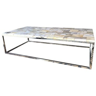 1980s Vintage Petrified Wood Top Coffee Table For Sale