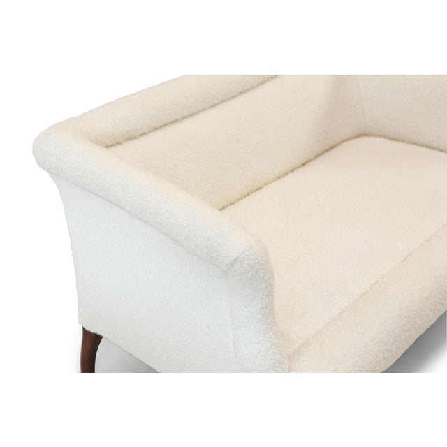 Metal French Settee Upholstered in White Boucle For Sale - Image 7 of 12