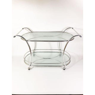 Mid Century Modern Polished Aluminum and Mosaic Pattern Glass Bar Cart Preview