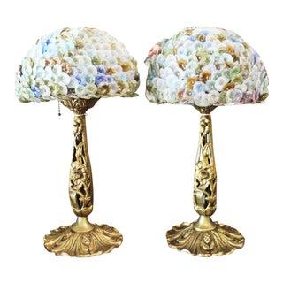 1930s Czech Floral Bronze Table Lamps - a Pair For Sale
