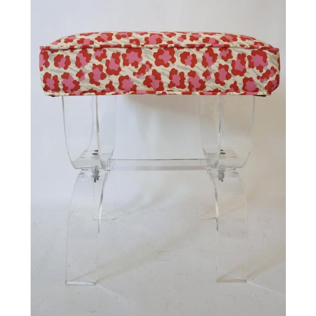 Mid-Century Modern Mid-Century Modern Charles Hollis Jones Lucite Stool Bench With New Upholstery Fantasy Leopard Motif For Sale - Image 3 of 12